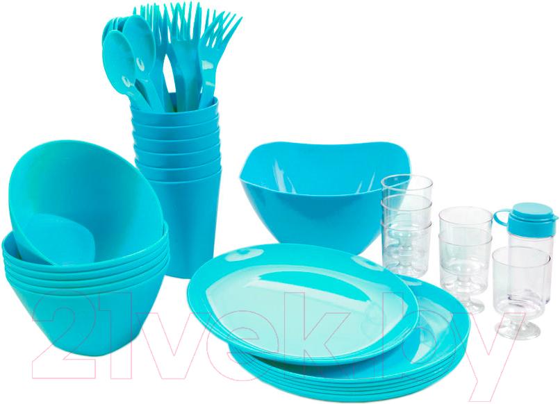 Купить Набор пластиковой посуды Berossi, Picnik ИК 06237000 (бирюзовый), Россия, полипропилен