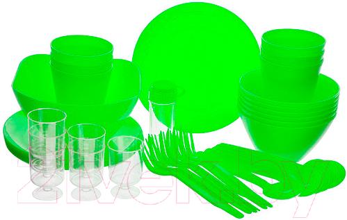 Купить Набор пластиковой посуды Berossi, Picnik ИК 06238000 (салатовый), Россия, полипропилен