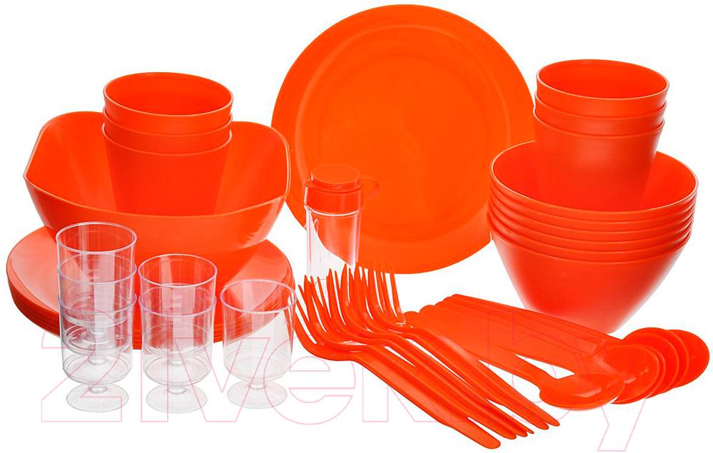 Купить Набор пластиковой посуды Berossi, Picnik ИК 06240000 (мандарин), Россия, полипропилен