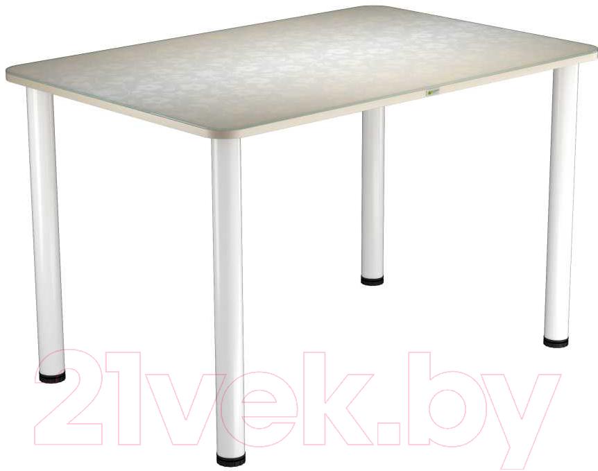 Купить Обеденный стол Васанти Плюс, ПРФ 120x80 (белый/Жасмин бежевый), Беларусь