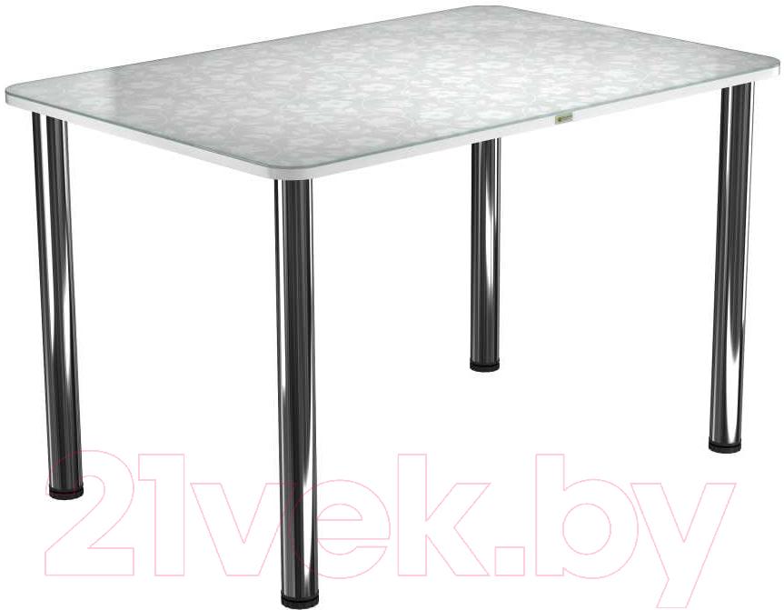 Купить Обеденный стол Васанти Плюс, ПРФ 120x80 (хром/Жасмин белый), Беларусь