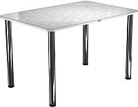Обеденный стол Васанти Плюс ПРФ 110x70 (хром/Жасмин белый) -
