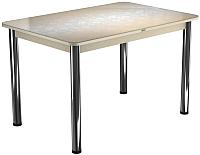 Обеденный стол Васанти Плюс ПРФ 100x60/3/О (бежевый хром/Жасмин бежевый) -