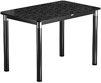 Обеденный стол Васанти Плюс Васанти-1 120x80/ОЧ (черный/хром/Жасмин Ч) -