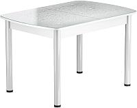 Обеденный стол Васанти Плюс БРФ 100/132x60Р/ОБ (белый/Капли белые) -