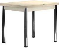 Обеденный стол Васанти Плюс ПРД 80x60/120 РШ/О (бежевый хром/бежевый) -