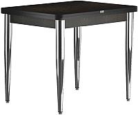 Обеденный стол Васанти Плюс ПРД 80x60/120 РШ/к/ОЧ (хром/черный) -