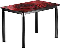 Обеденный стол Васанти Плюс Классик 120/178x80/ОЧ (черный/хром/109) -