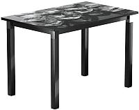 Обеденный стол Васанти Плюс Люкс 120/178x80/ОЧ (черный/хром/98) -