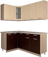 Готовая кухня Интерлиния Мила 12x18 (ваниль/дуб венге) -