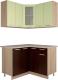 Готовая кухня Интерлиния Мила 12x12 (салатовый/дуб венге) -