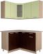 Готовая кухня Интерлиния Мила 12x14 (салатовый/дуб венге) -
