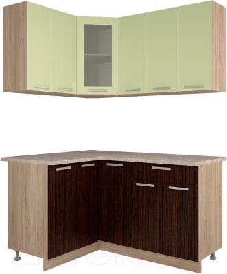 Готовая кухня Интерлиния Мила 12x15 (салатовый/дуб венге)