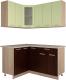 Готовая кухня Интерлиния Мила 12x15 (салатовый/дуб венге) -