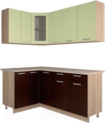 Готовая кухня Интерлиния Мила 12x18 (салатовый/дуб венге)