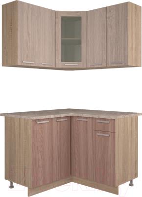 Готовая кухня Интерлиния Мила 12x12 (ясень светлый/ясень темный)