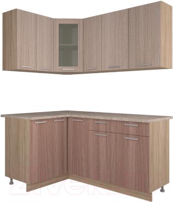 Готовая кухня Интерлиния Мила 12x17 (ясень светлый/ясень темный)