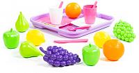 Набор игрушечных продуктов Полесье Набор продуктов №2 с посудкой и подносом / 46970 (21эл, в сеточке) -