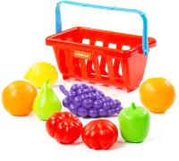 Корзина игрушечная Полесье Набор продуктов с корзинкой №2 / 46963 (9эл, в сеточке) -