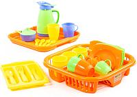 Набор игрушечной посуды Полесье Алиса с сушилкой, подносом и лотком на 4 персоны / 40718 -