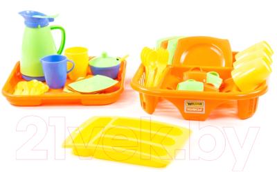 Набор игрушечной посуды Полесье Алиса с сушилкой, подносом и лотком на 4 персоны / 40718