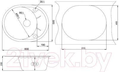 Мойка кухонная Granula GR-6301 (шварц)