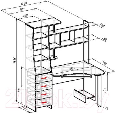 Компьютерный стол Мебель-Класс Символ (венге/дуб шамони, правый)