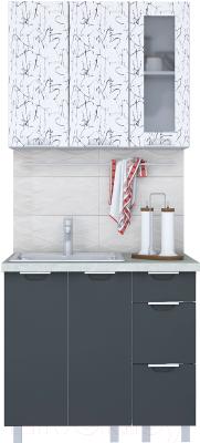 Готовая кухня Интерлиния Арт Мила 09 (арт графит)