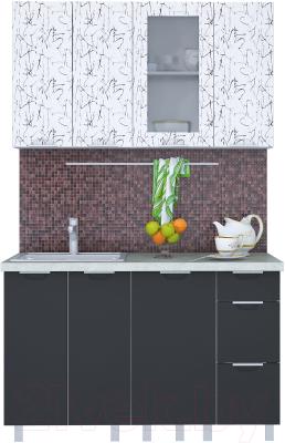 Готовая кухня Интерлиния Арт Мила 13 (арт графит)