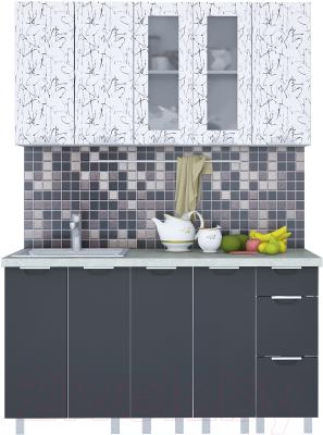 Готовая кухня Интерлиния Арт Мила 15 (арт графит)
