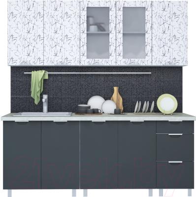 Готовая кухня Интерлиния Арт Мила 20 (арт графит)