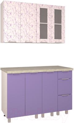 Готовая кухня Интерлиния Арт Мила 12 (арт фиолет)