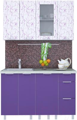 Готовая кухня Интерлиния Арт Мила 13 (арт фиолет)