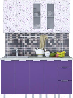 Готовая кухня Интерлиния Арт Мила 15 (арт фиолет)