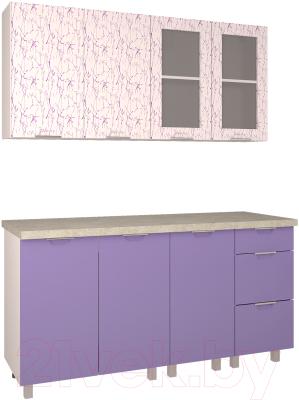 Готовая кухня Интерлиния Арт Мила 16 (арт фиолет)
