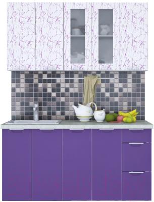 Готовая кухня Интерлиния Арт Мила 17 (арт фиолет)