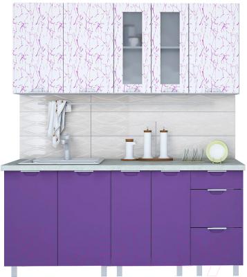 Готовая кухня Интерлиния Арт Мила 18 (арт фиолет)