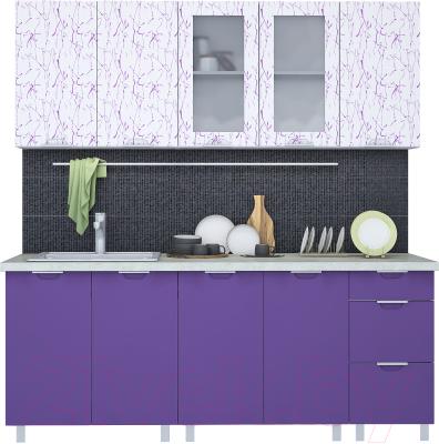 Готовая кухня Интерлиния Арт Мила 20 (арт фиолет)
