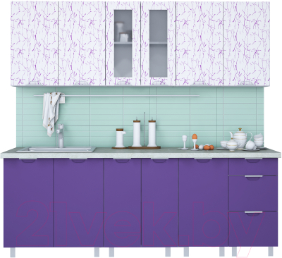 Готовая кухня Интерлиния Арт Мила 22 (арт фиолет)
