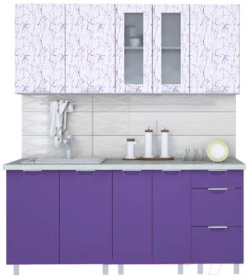 Готовая кухня Интерлиния Арт Мила 23 (арт фиолет)