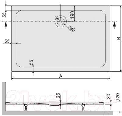 Душевой поддон Sanplast B/FREE 90x120x25