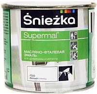 Эмаль Sniezka Supermal масляно-фталевая (400мл, белый глянец) -