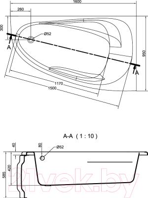 Ванна акриловая Cersanit Joanna 160x95 L / WA-JOANNA-160-L (без ножек)