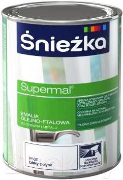 Эмаль Sniezka Supermal масляно-фталевая (800мл, белый глянец)