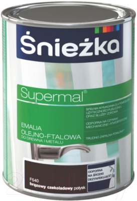 Эмаль Sniezka Supermal масляно-фталевая (800мл, шоколадно-коричневый)