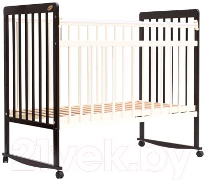 Детская кроватка Bambini Euro Style М 01.10.03 (темный орех/слоновая кость)