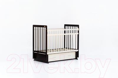 Детская кроватка Bambini Euro Style М 01.10.04 (темный орех/слоновая кость)