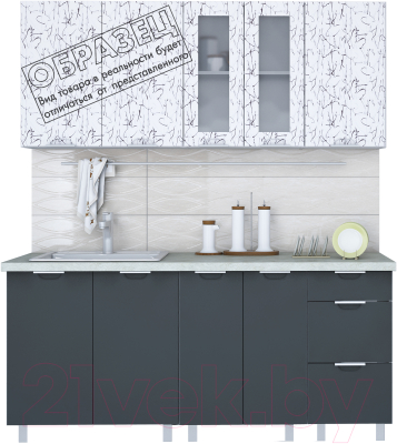 Готовая кухня Интерлиния Арт Мила 12x14 (арт графит) - образец цветового решения