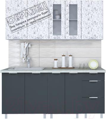 Готовая кухня Интерлиния Арт Мила 12x16 (арт графит) - образец цветового решения