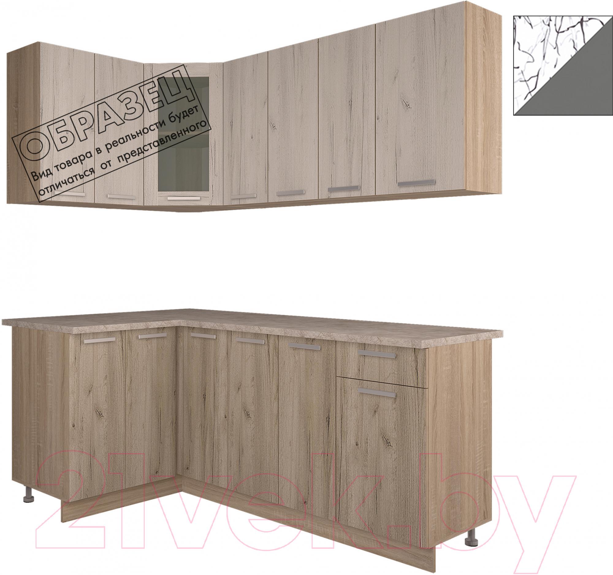 Купить Готовая кухня Интерлиния, Арт Мила 14x19 (арт графит), Беларусь